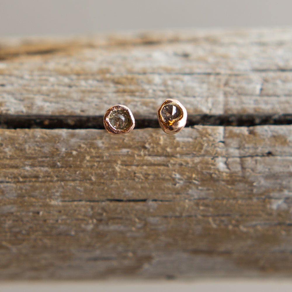 rose gold press set inverted diamond stud earrings-accessories - jewelry-blair lauren brown-k colette