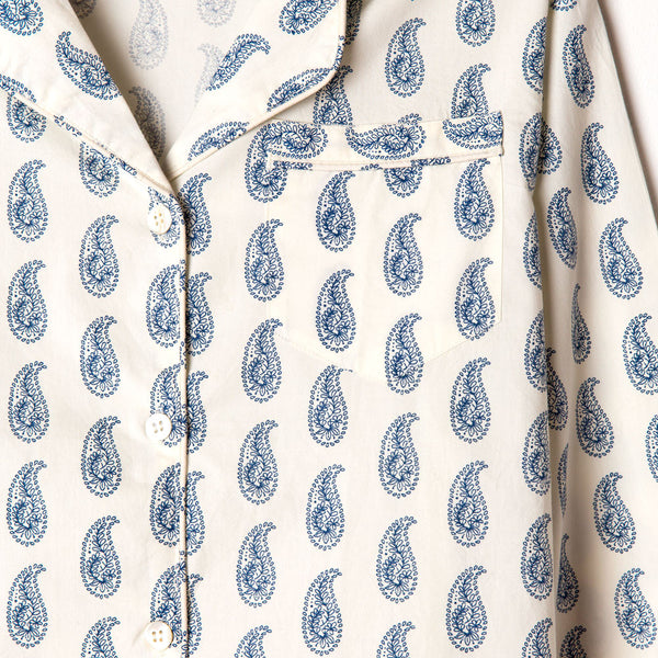 paisley indigo nightshirt-textiles - pajamas-taylor linens-small-k colette