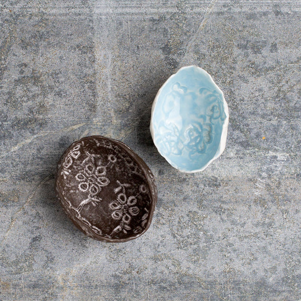 lace mini egg bowl-art & decor - decorative objects-valérie casado-noir-k colette