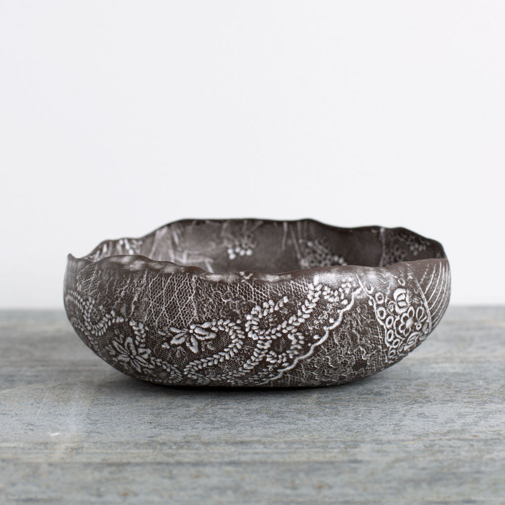 lace medium egg bowl-art & decor - decorative objects-valérie casado-noir-k colette