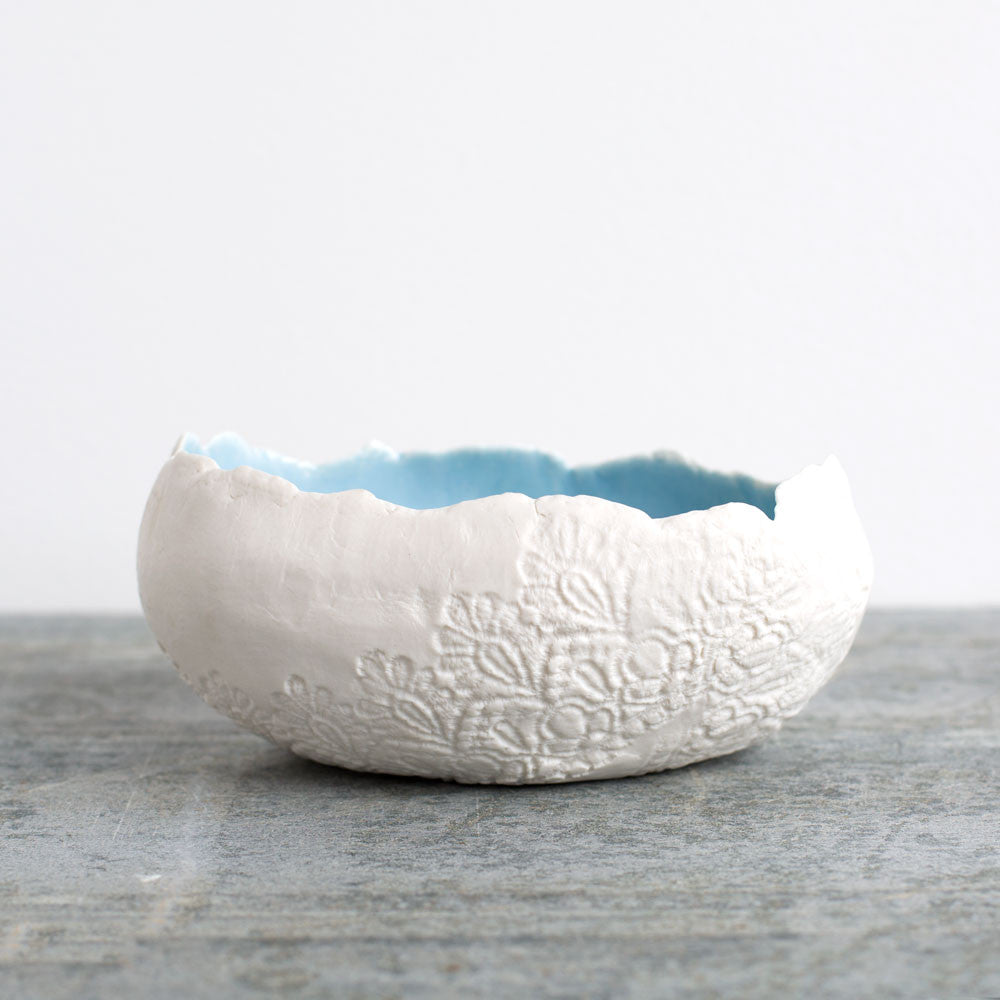 lace medium egg bowl-art & decor - decorative objects-valérie casado-powder blue-k colette