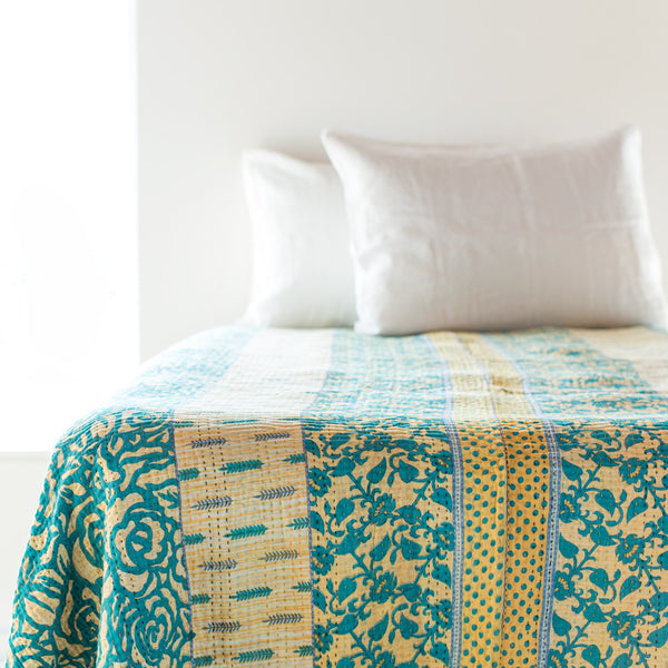 double kantha bedcover-bed & bath - bedding - art & decor - vintage textiles - thank-jeanette farrier-teal & floral polka dot-k colette