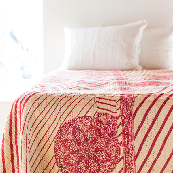 double kantha bedcover-bed & bath - bedding - art & decor - vintage textiles - love - ooak - luxury-jeanette farrier-k colette