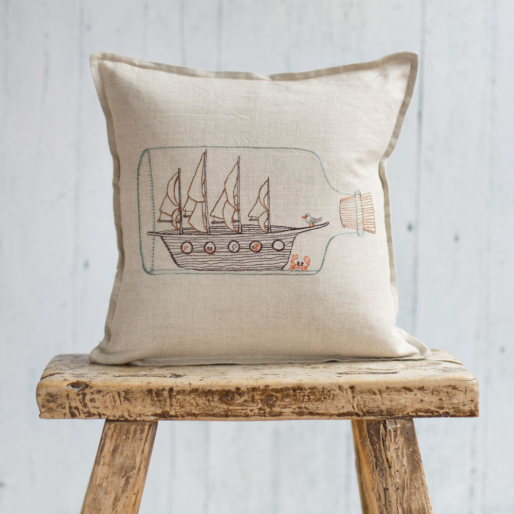 ship in bottle pillow-bed & bath - decor - pillows - sea-coral & tusk-k colette