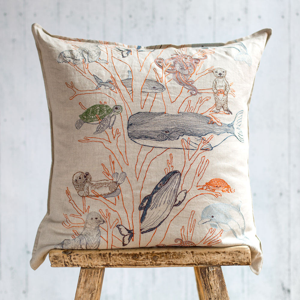 coral forest pillow-bed & bath - art & decor - pillows-coral & tusk-k colette