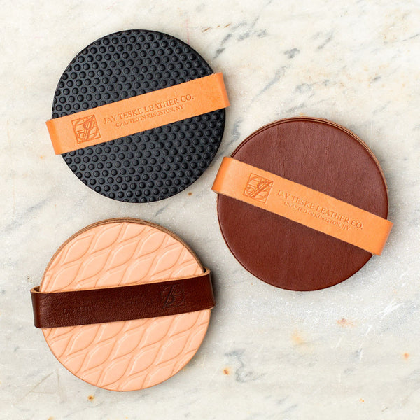 leather coaster set-kitchen & dining - bar & drinkware-jay teske leather co.-black-diamond-k colette