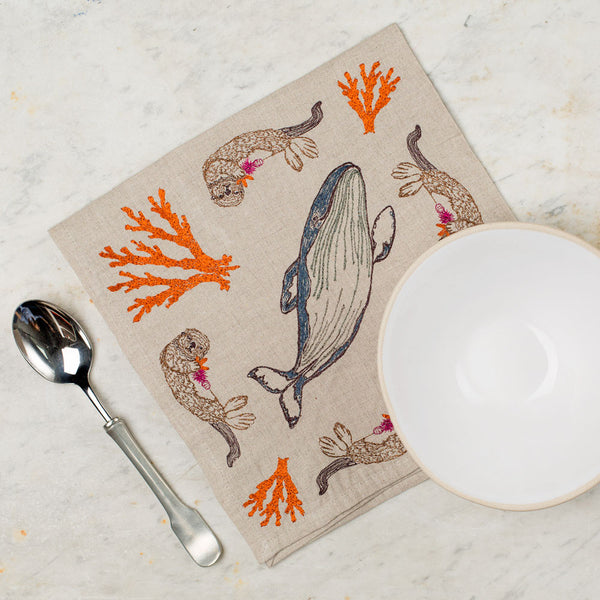 coral forest napkin-kitchen & dining - table linens - sea-coral & tusk-k colette