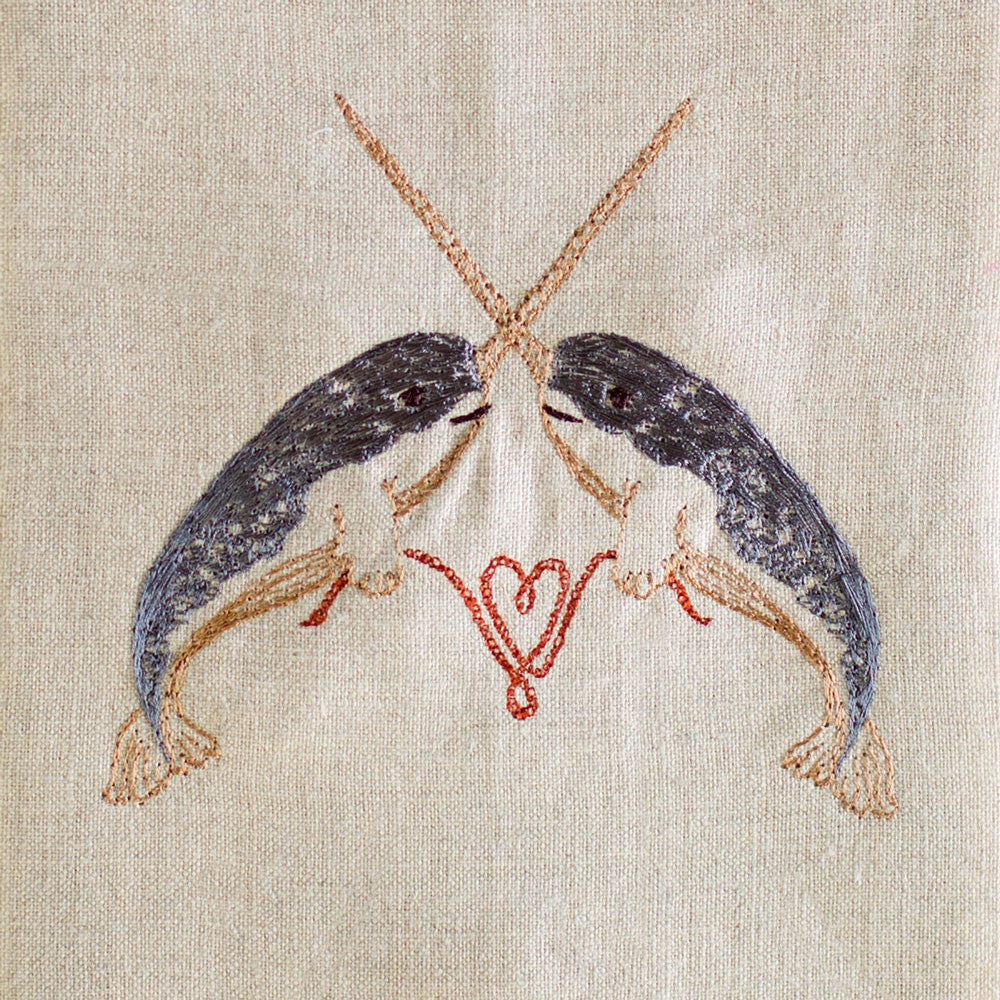 narwhal love tea towel-kitchen & dining - tea towels & aprons-coral & tusk-k colette