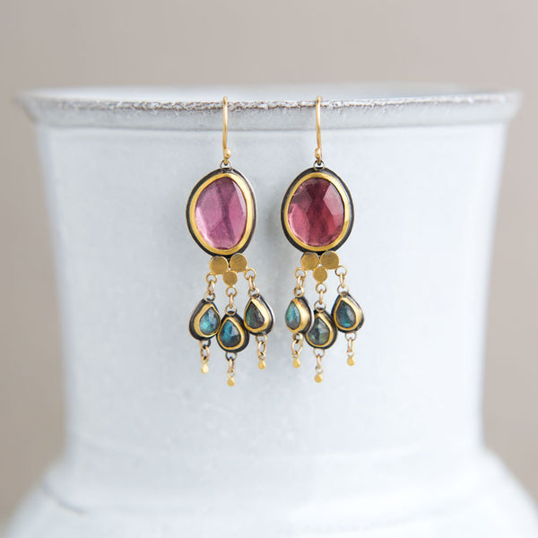 pink tourmaline & labradorite earrings-accessories - jewelry - stylish-ananda khalsa-k colette