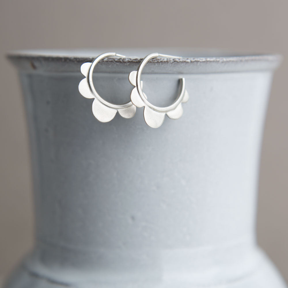 silver scalloped hoops-accessories - jewelry-ananda khalsa-k colette
