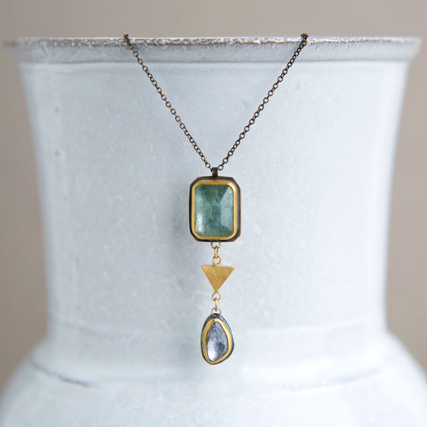 moss aquamarine & pale sapphire necklace-accessories - jewelry - luxury-ananda khalsa-k colette