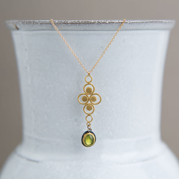 filigree charm & vesuvianite gold necklace-accessories - jewelry-ananda khalsa-k colette