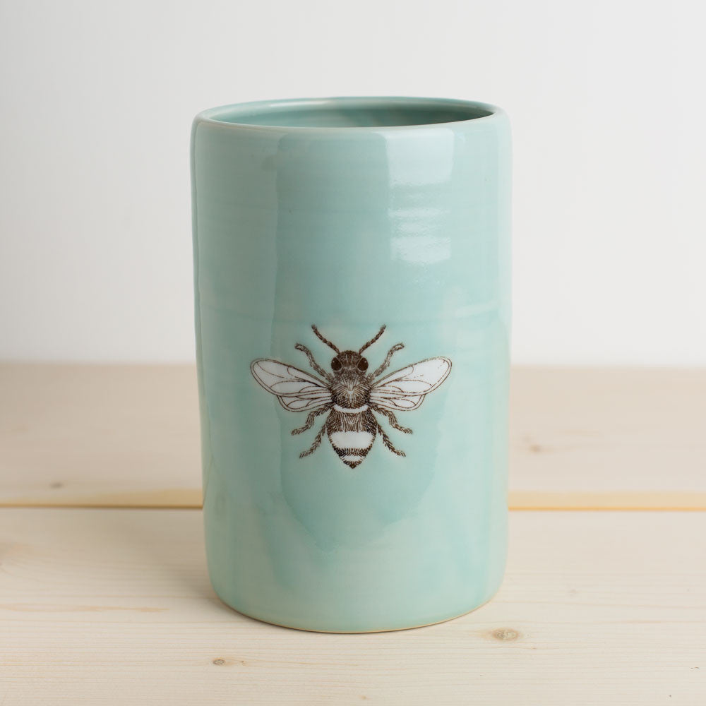 illustrated vase-art & decor - vases-skt ceramics-celadon bee-k colette