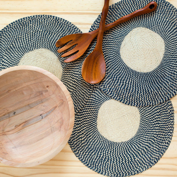 zig zag straw placemats, grey-kitchen & dining - table linens-guanábana-Default-k colette