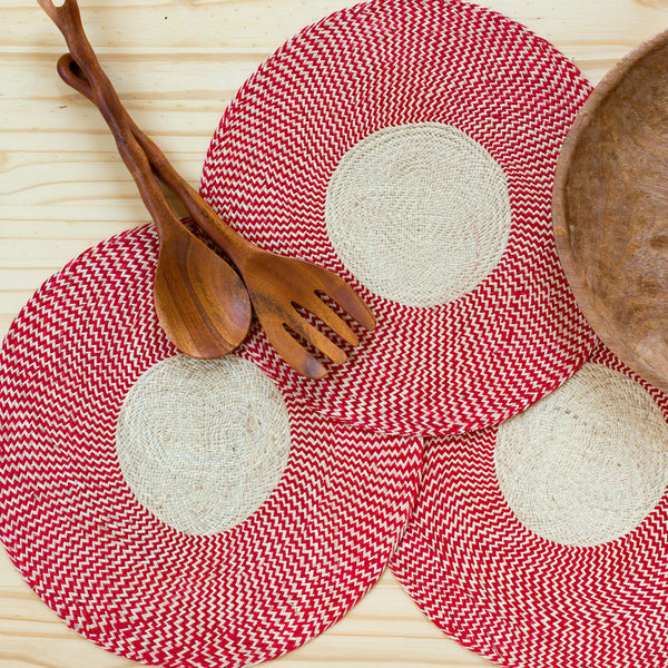 zig zag straw placemats, red-kitchen & dining - table linens-guanábana-Default-k colette