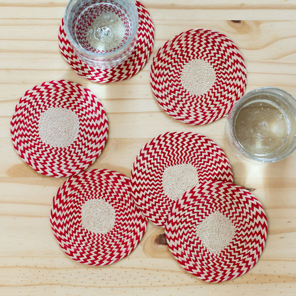 zig zag straw coasters, red-kitchen & dining - bar & drinkware-guanábana-Default-k colette