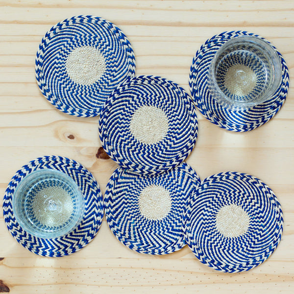 zig zag straw coasters, cobalt-kitchen & dining - bar & drinkware-guanábana-Default-k colette