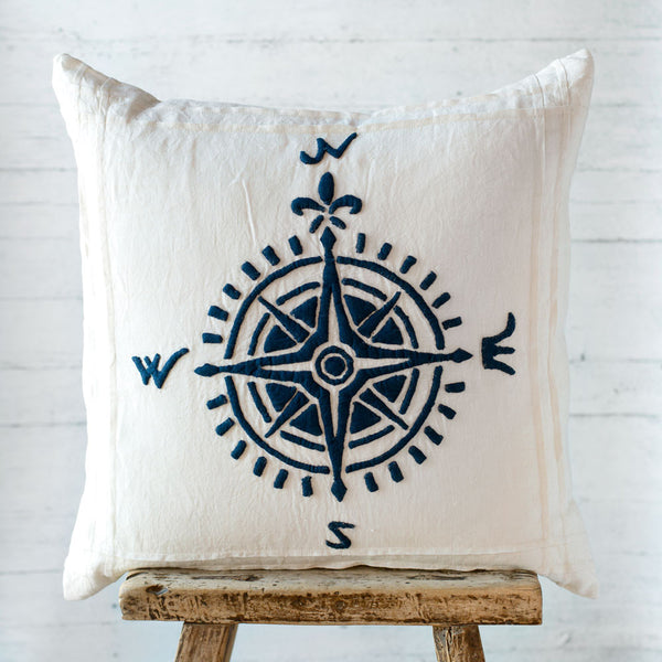 indigo compass linen pillow-bed & bath - decor - pillows-taylor linens-k colette