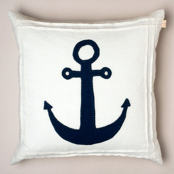 white anchor linen pillow-bed & bath - art & decor - pillows-taylor linens-k colette