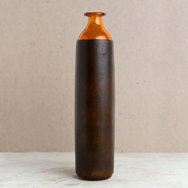 leather wrapped vase, orange bottle-art & decor - decorative objects-a.b.k.-Default-k colette