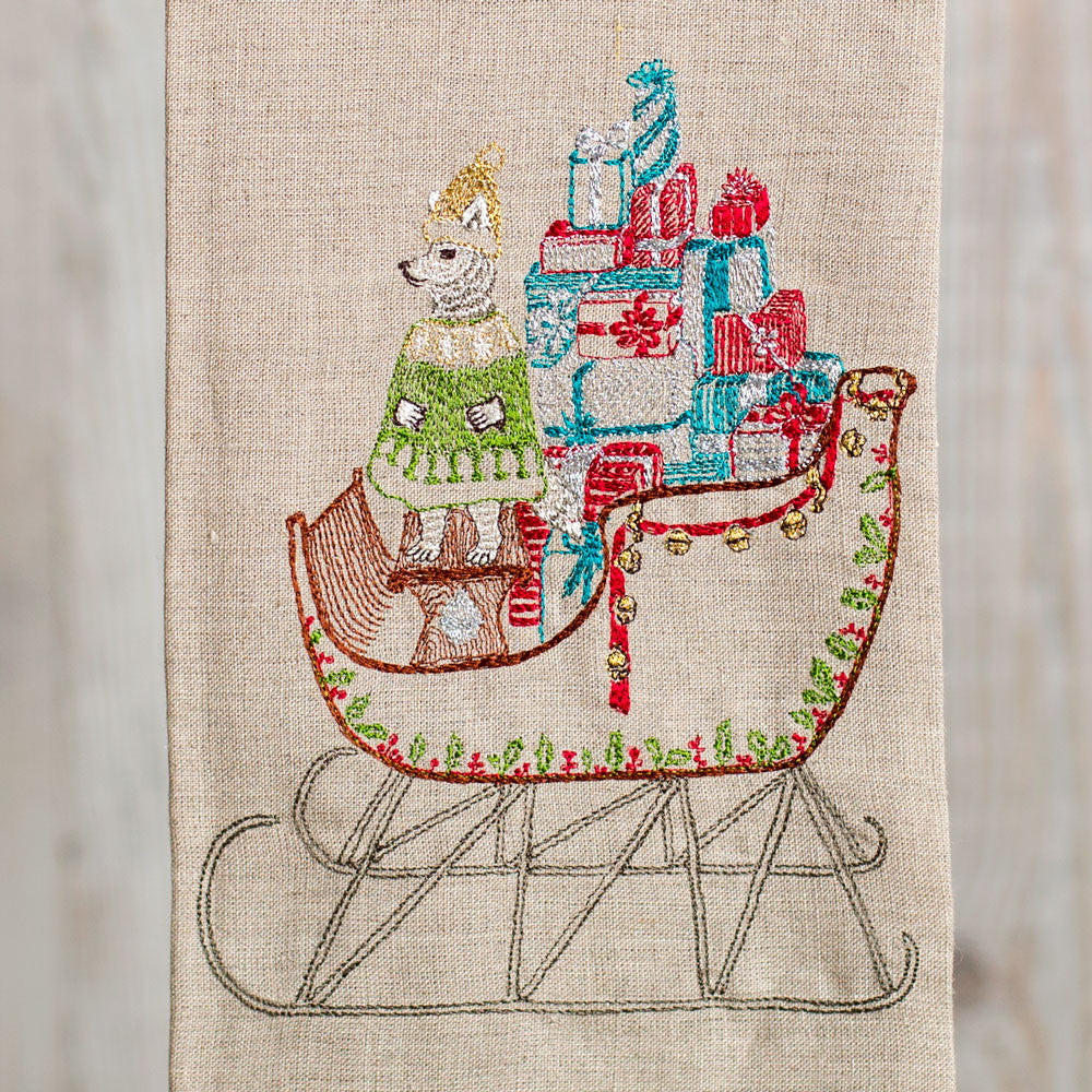 santa's sleigh tea towel-holiday - kitchen & dining - tea towels & aprons-coral & tusk-Default-k colette