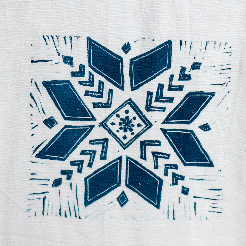 Snowflake Wood Block Print Tea Towel Kitchen Dining