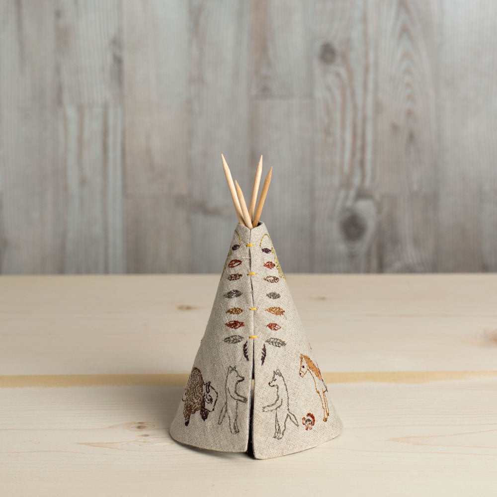 embroidered tipi-baby - nursery decor-coral & tusk-small animal trail tipi-k colette