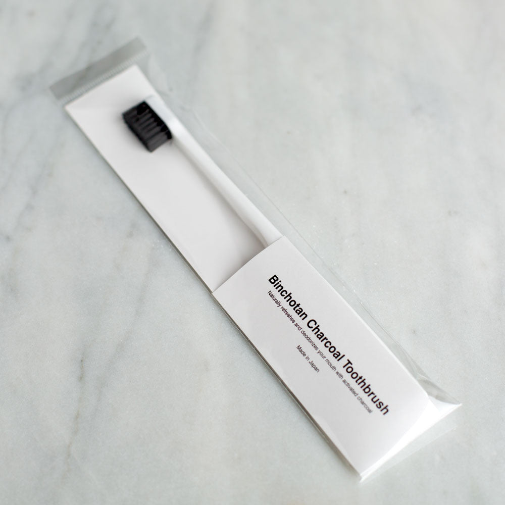 charcoal toothbrush-bed & bath - bath accessories - stocking-binchotan charcoal by morihata-white-k colette