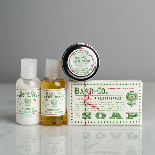 fir & grapefruit travel kit-holiday - apothecary - soaps & lotions-barr-co. by k hall designs-k colette