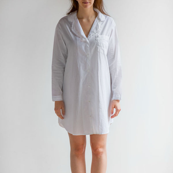 white ruffled nightshirt-textiles - pajamas-taylor linens-small-k colette