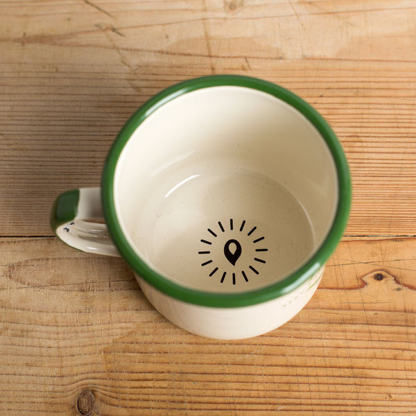 enamel camp mug-kitchen & dining - bar & drinkware-square trade goods co.-cream & green-k colette