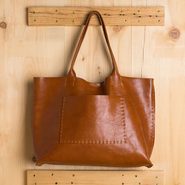 belleville tote-accessories - handbags & clutches-stitch & tickle-cognac-k colette