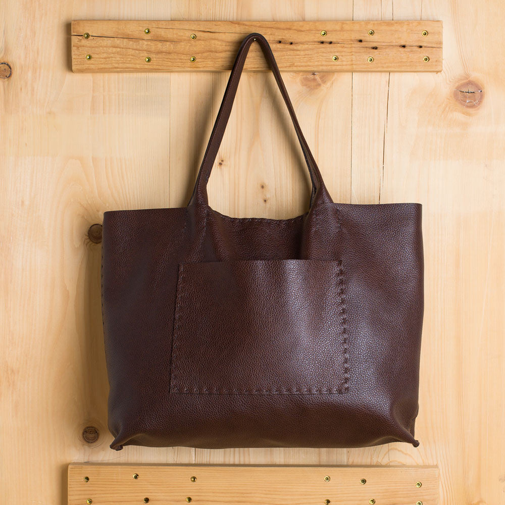 belleville tote-accessories - handbags & clutches-stitch & tickle-chocolate-k colette