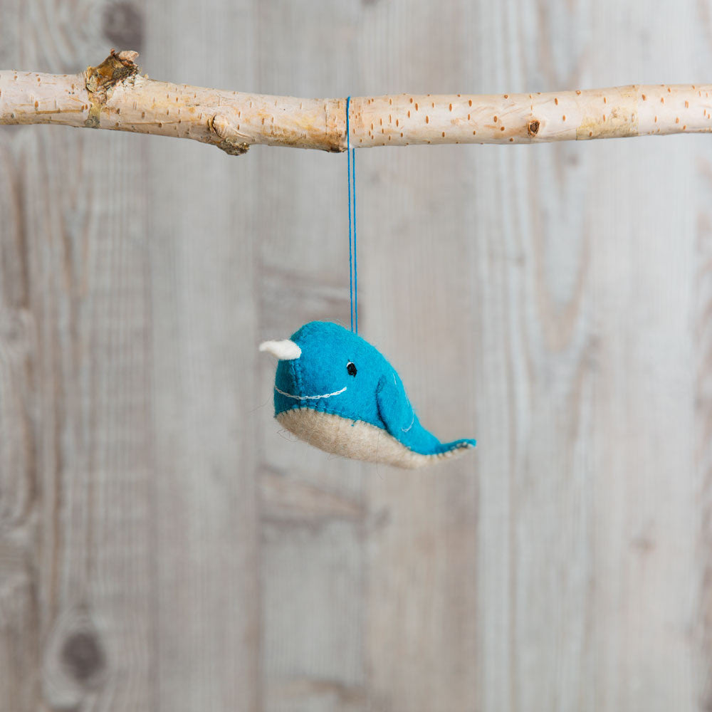 blue long ways narwhal ornament-holiday - ornaments-craftspring-k colette