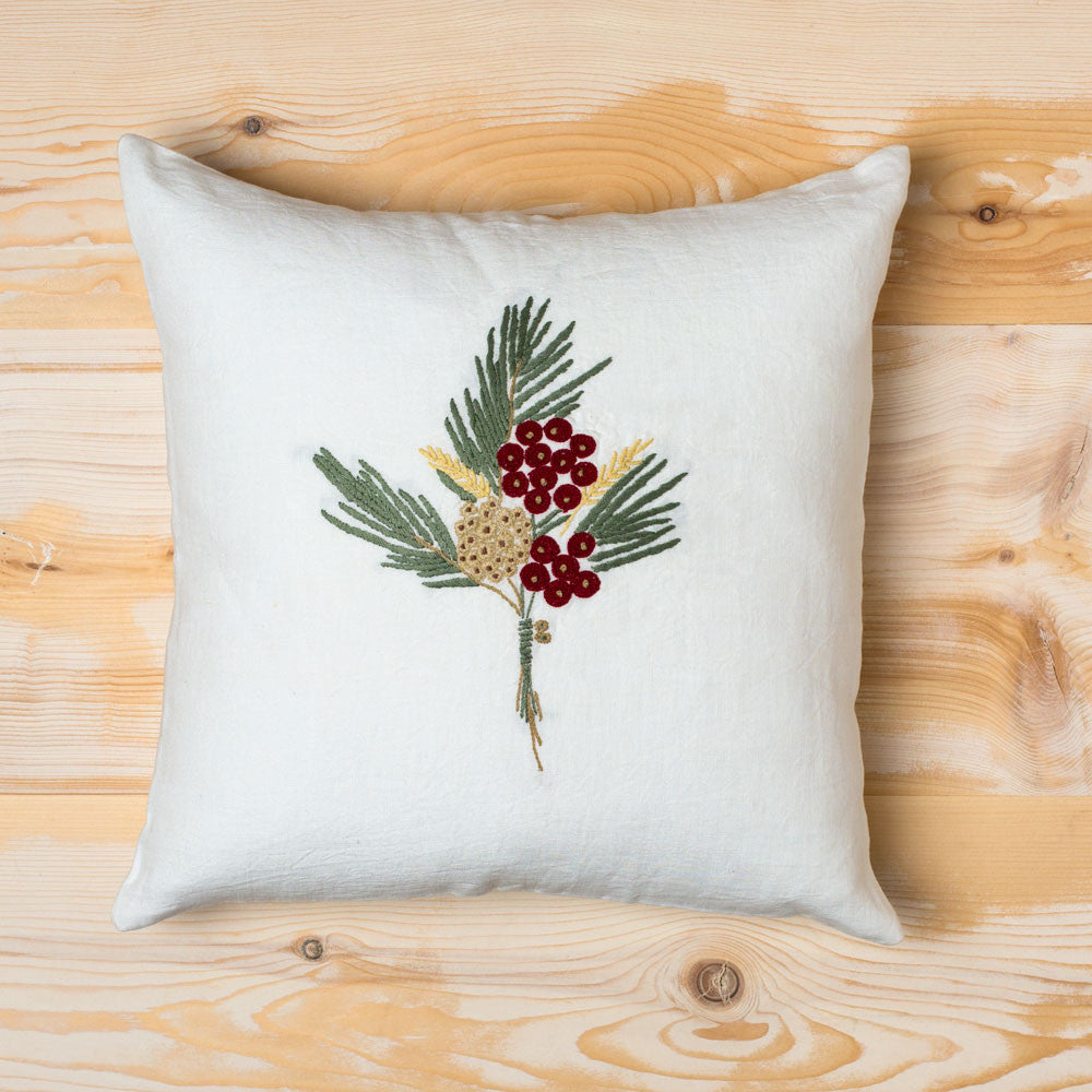 winterberry embroidered linen pillow-holiday-taylor linens-k colette