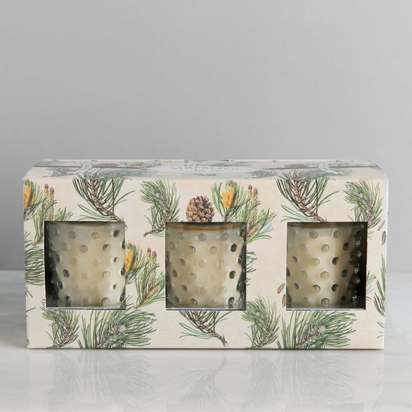 hobnail glass votives, scotch pine-apothecary - candles-simpatico by k hall designs-k colette