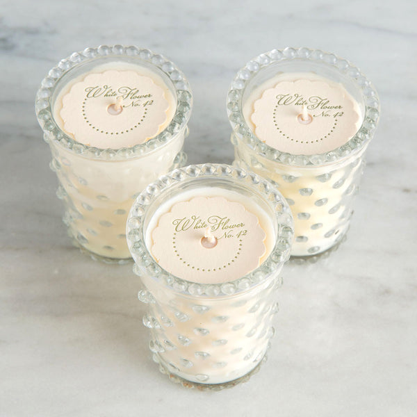 white flower votive candle set-apothecary - candles-simpatico by k hall designs-k colette