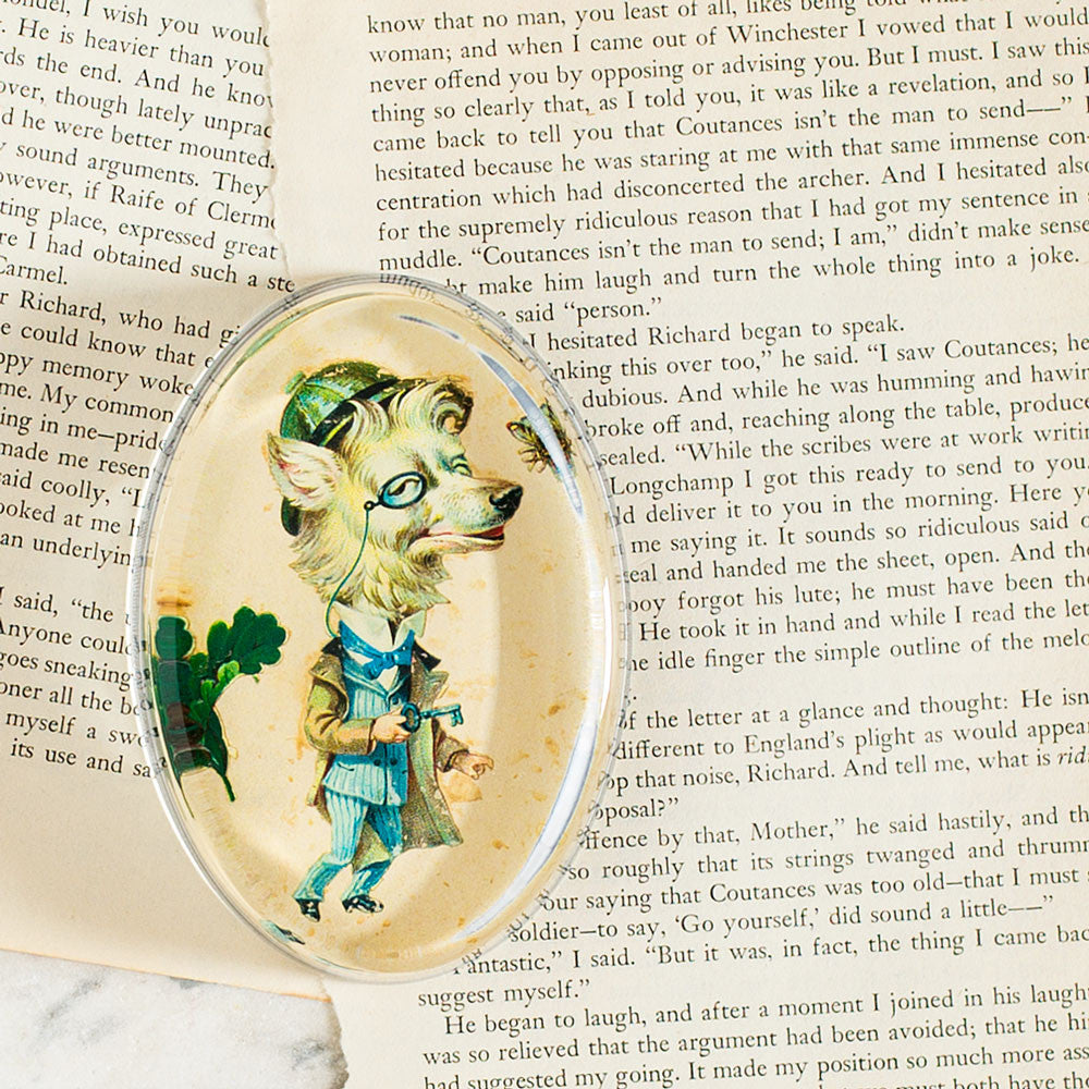 well dressed animal: monocle (fox) oval paperweight-desktop - paperweights-john derian-k colette