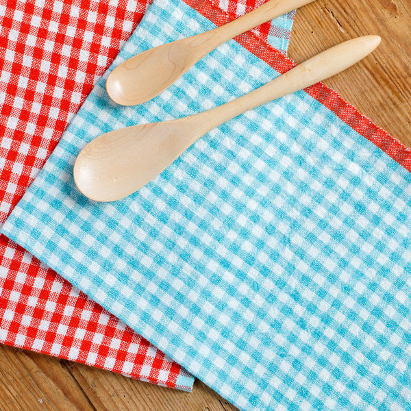 two tone gingham tea towels-kitchen & dining - tea towels & aprons-couleur nature-orange-k colette