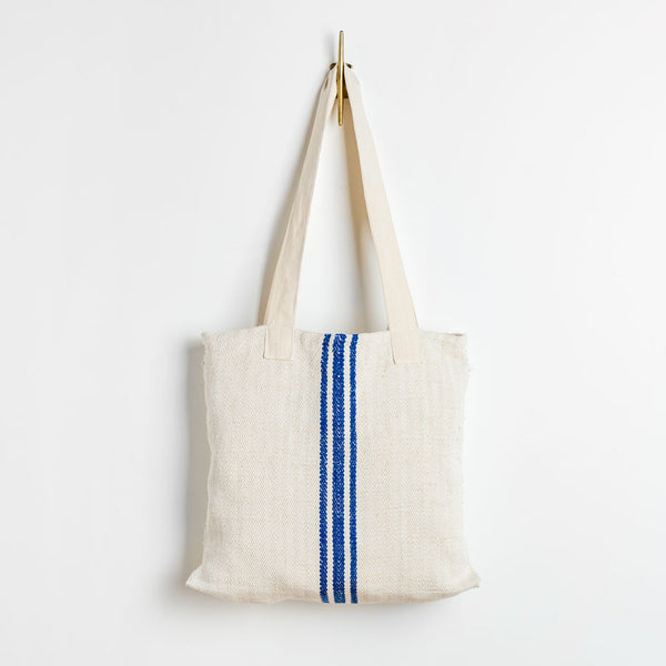 grain sack tote-accessories - handbags & clutches-transylvanian images-red & navy, 3 stripes-k colette