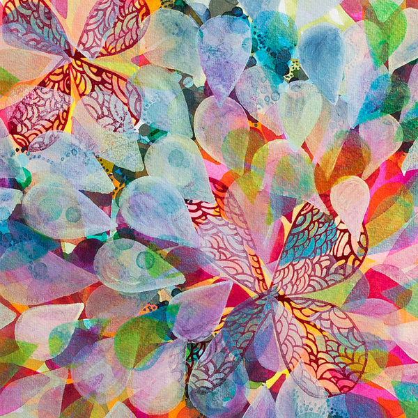 'kaleidoscope petals' watercolor painting-art & decor - paintings & prints-lbk studio-k colette