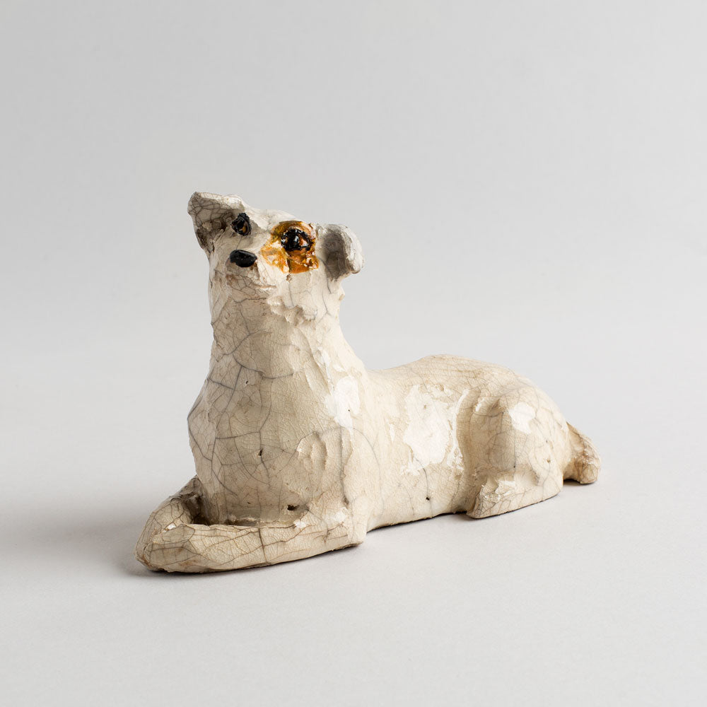laying ceramic jack russell dog-art & decor - objets-atelier du douire-k colette