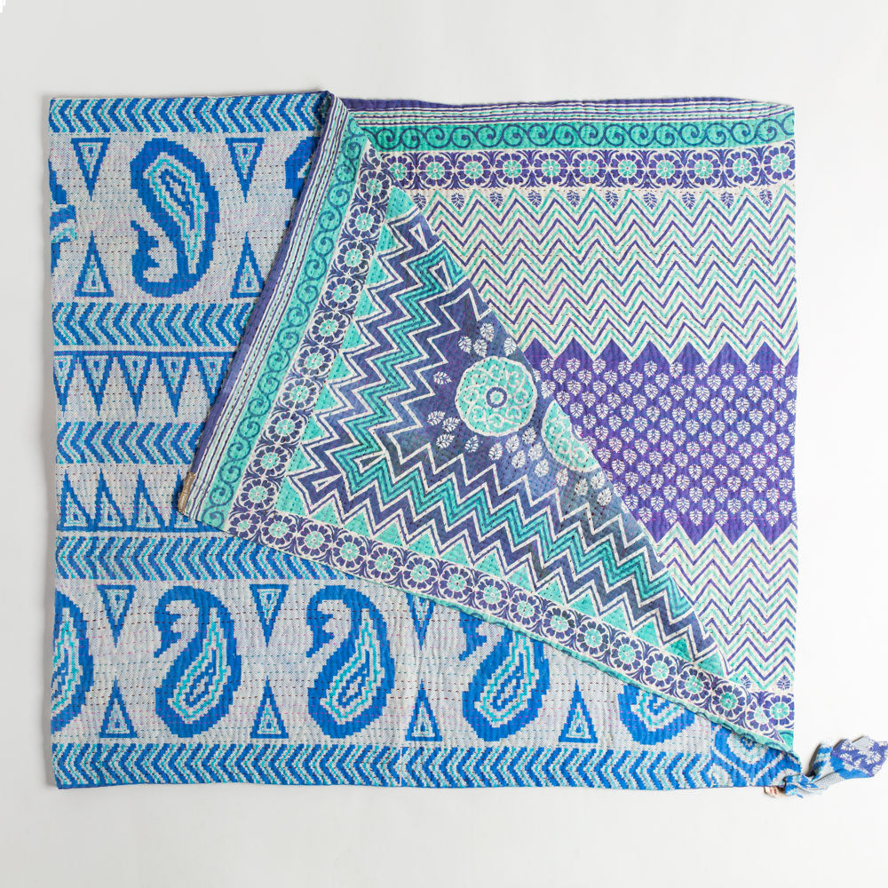 kantha throw-art & decor - throws - vintage textiles - ooak-jeanette farrier-teal, blue, and purple geometric-k colette