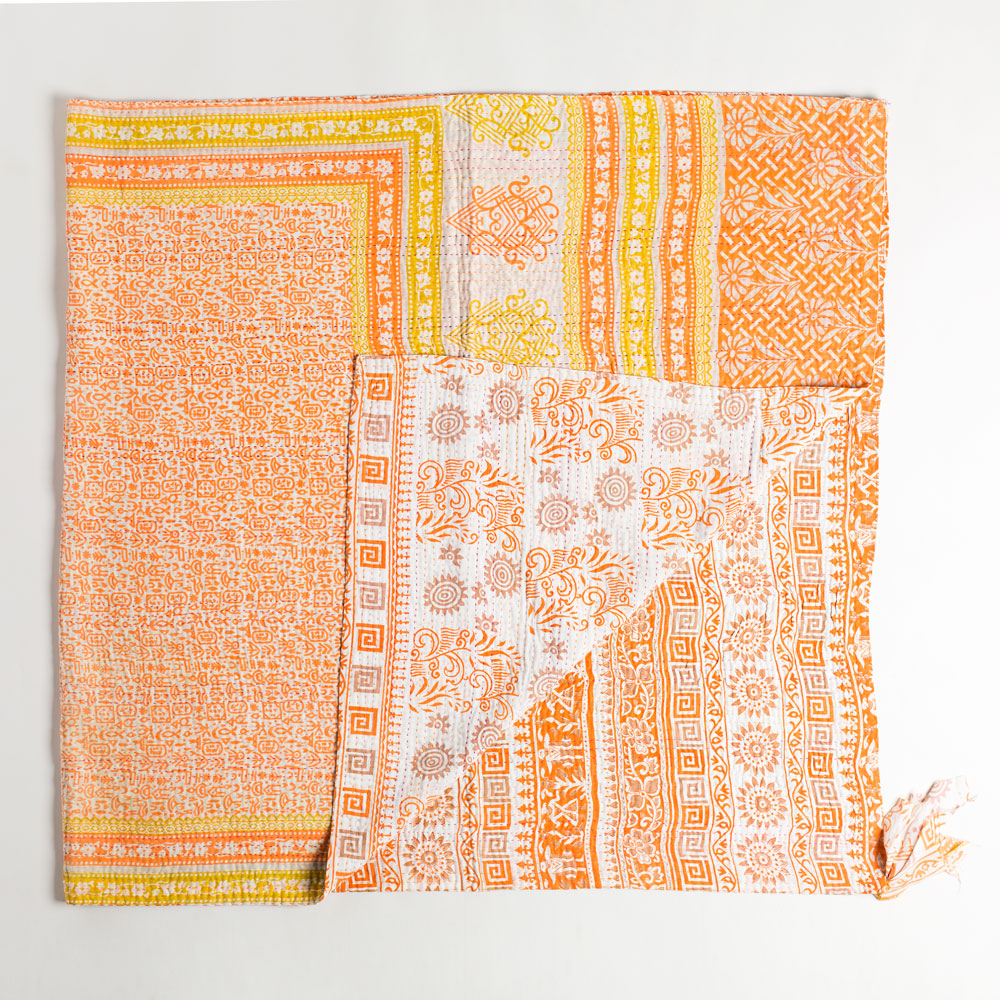 kantha throw-art & decor - throws - vintage textiles - ooak-jeanette farrier-peach, tan, and orange aztec print-k colette