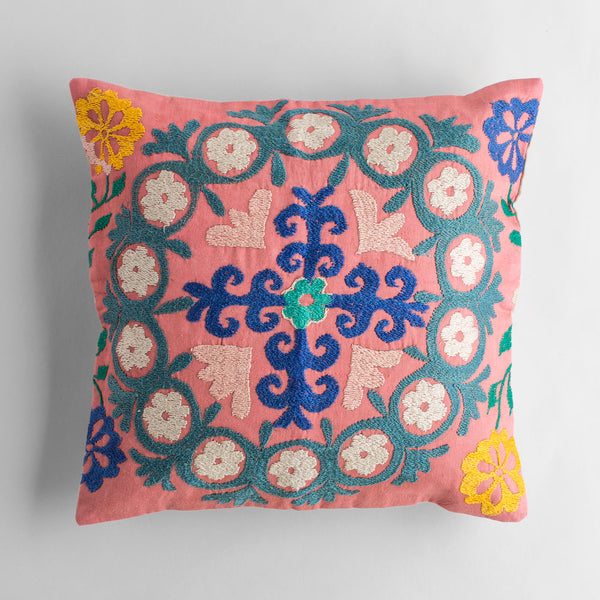 vintage pink & green suzani pillow-bed & bath - art & decor - pillows - vintage textiles - heirloom - for her-john robshaw-k colette