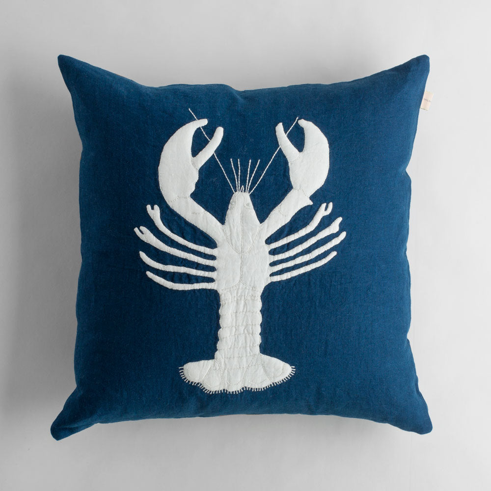 indigo lobster linen pillow-bed & bath - decor - pillows - sea-taylor linens-k colette