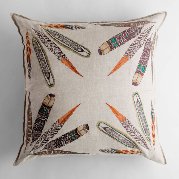 feather bouquet euro pillow-bed & bath - art & decor - pillows - deck-coral & tusk-k colette