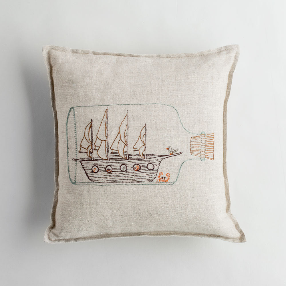ship in bottle pillow-bed & bath - art & decor - pillows-coral & tusk-k colette