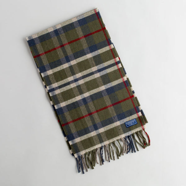 hatchet plaid wool scarf-accessories - scarves - winter - for him-faribault woolen mill co.-olive-k colette