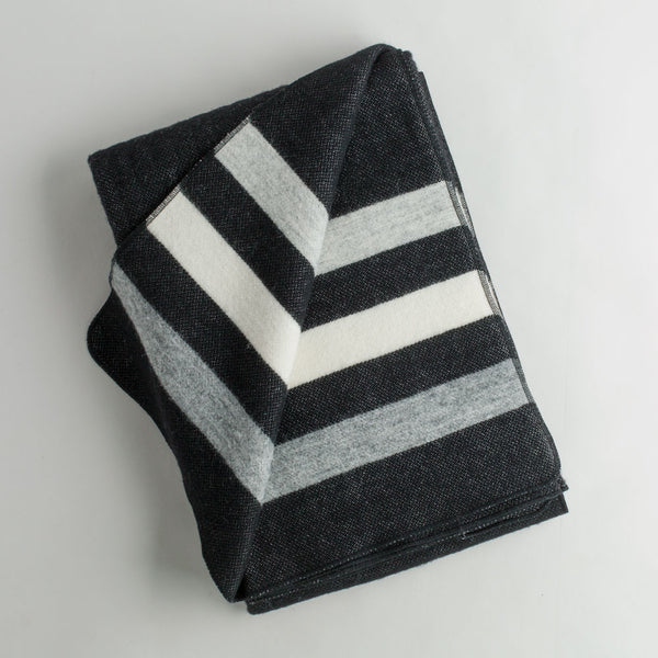 revival stripe wool throw-textiles - throws-faribault woolen mill co.-black-k colette